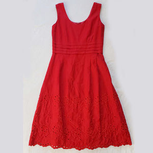 Isadora Collection red linen blend eyelet dress